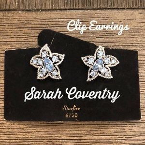 Sarah Coventry Starfire Clip Earrings Ice Blue